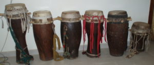 "A set of older style sabar drums, purchased from a drummer who wanted to ""upgrade""."
