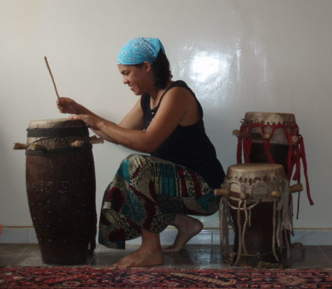 "Trying out my ""new"" set of drums in Guediawaye, June 2010."