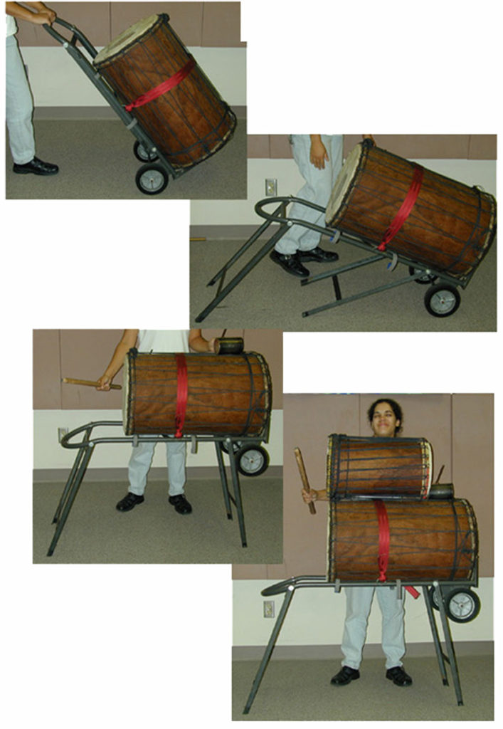 After hauling these drums around in other ways, I modified a handtruck to make transporting dununs easier. I made 3 of these for Mark Sunkett and the African Drum Ensemble while I was at ASU.