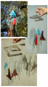 Custom cut glass wind chimes, designed and fabricated by Sonja Branch